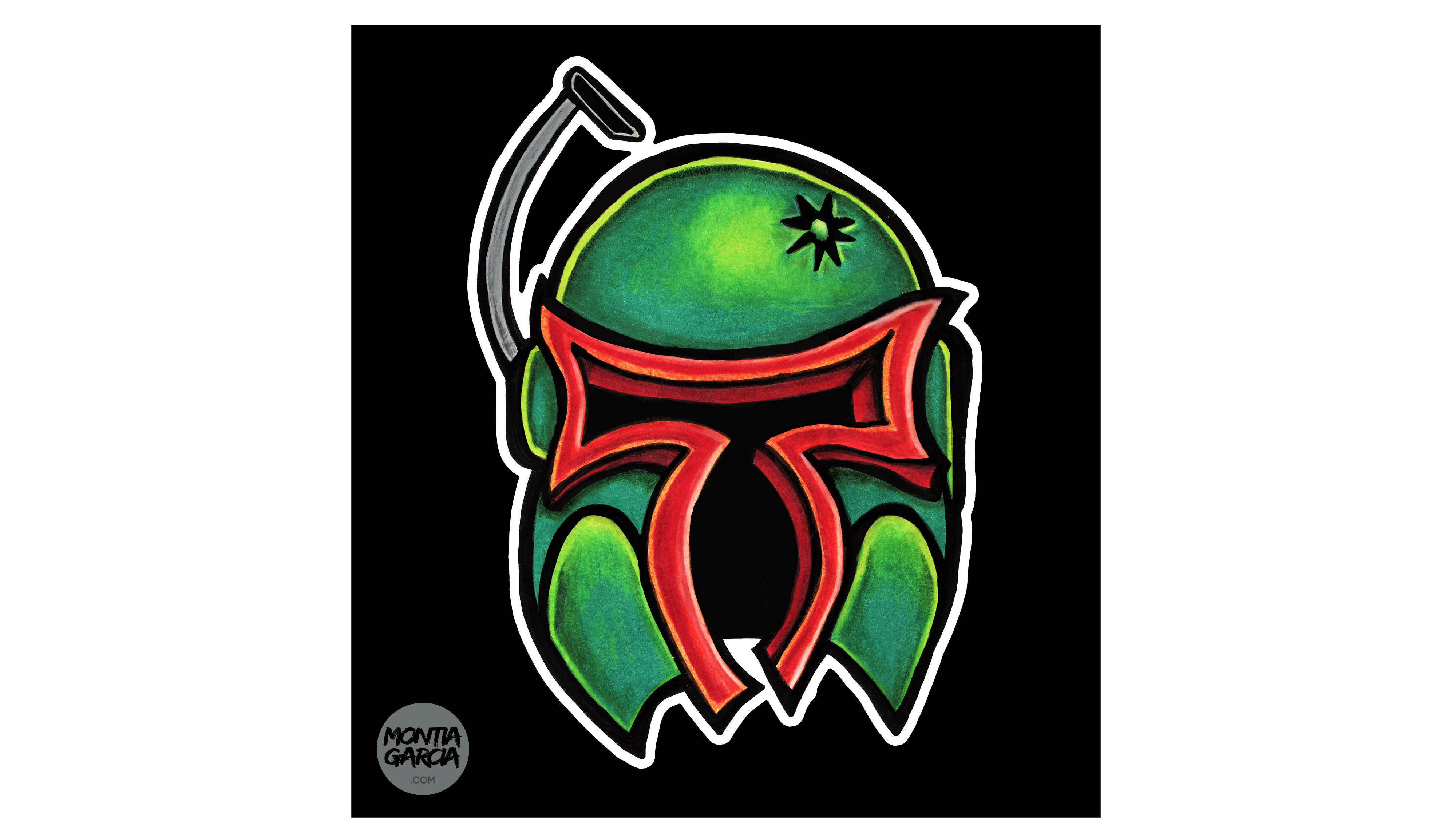 Boba Fett - Ink and Colored Pencil drawing by Montia Garcia